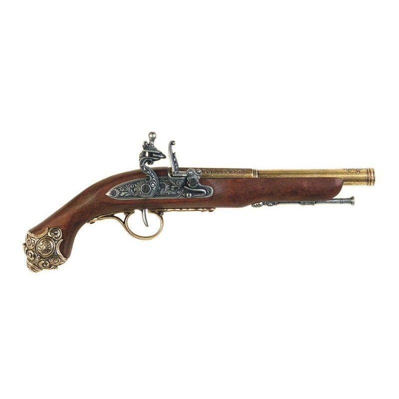 Pistola Flintlock dourada , século XVIII - 1