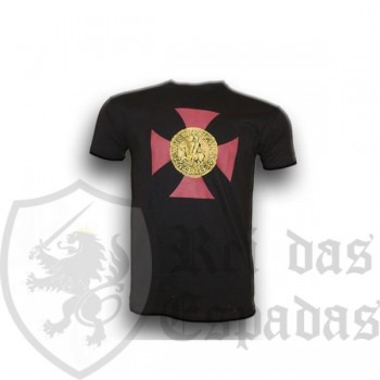 Black T-Shirt with the Templar Cross