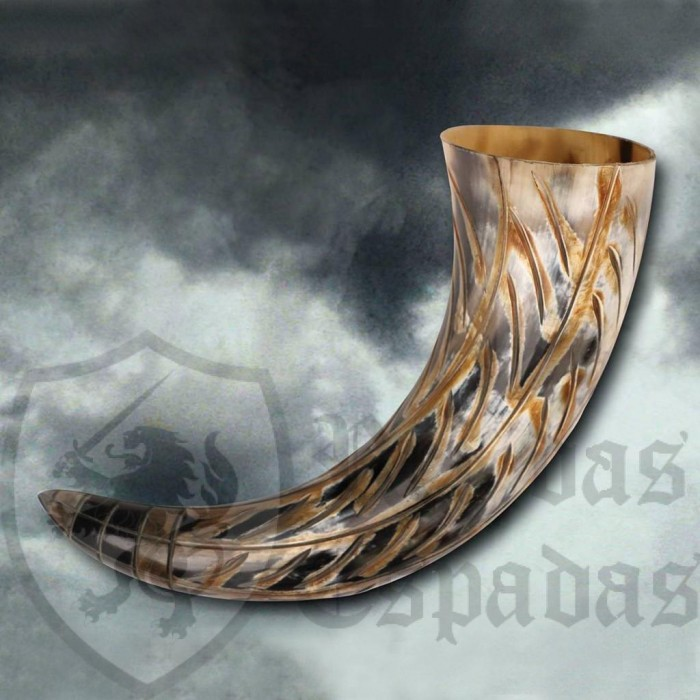 Colorful Carved Horn for Drinking