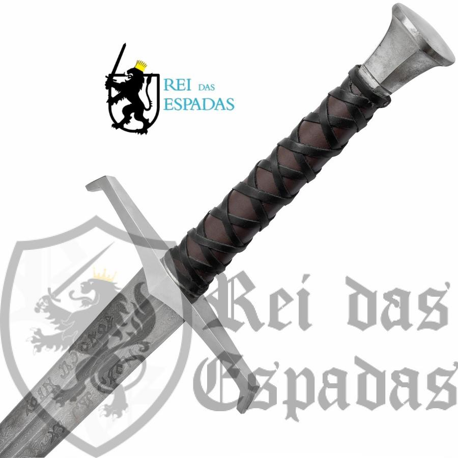 Espada Excalibur Funcional em Aço de Damasco