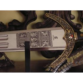 Espada Marco Polo em dourado sem bainha - 5