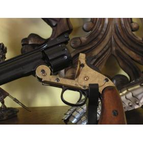 Revolver fabricado pela Smith & Wesson preto e dourado - 2