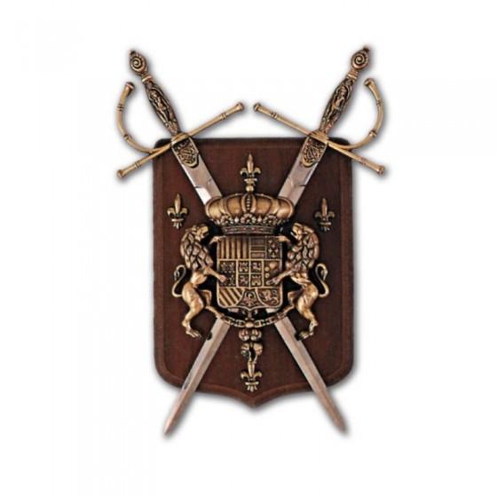 Panóplia com 2 espadas dourado