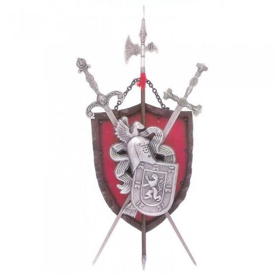 Panóplia com 2 espadas e alabarda