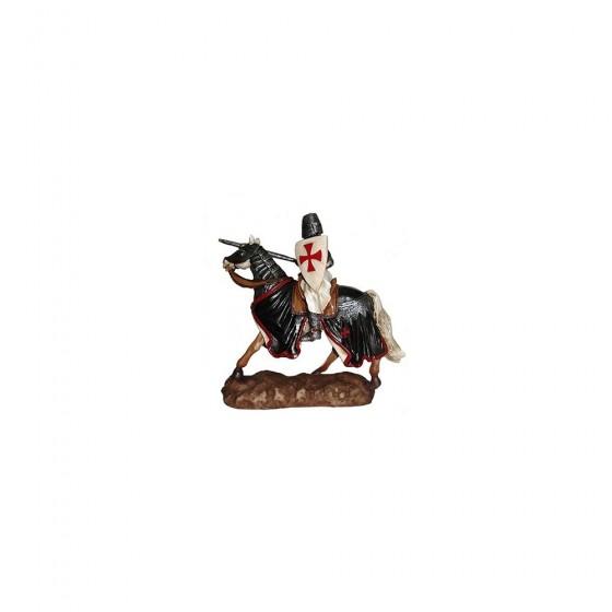 Cavaleiro Templário a cavalo, em resina