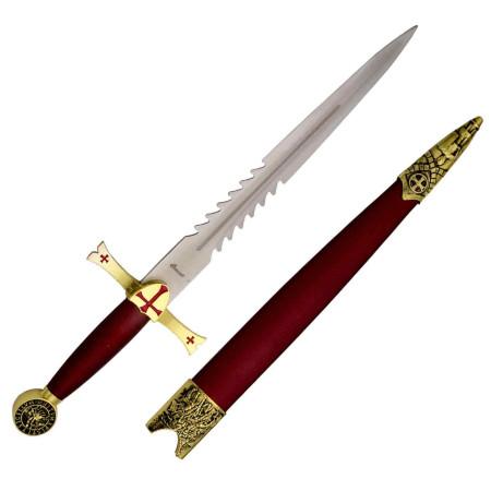 Flaming Knights Templar gold dagger