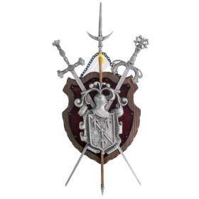 Panóplia em madeira com 2 espadas e alabarda prateado - 2