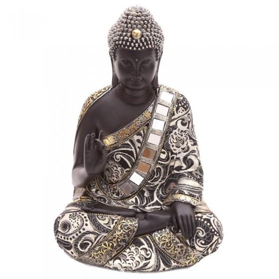 Buddha tailandês sentado dourado e preto
