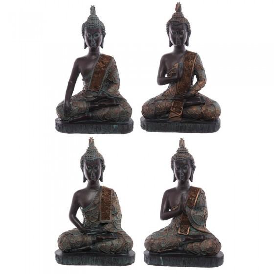 Thai Sitting Buddha Medium - Efeito Brown e Verdigris