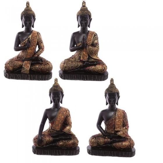 Thai Buddha Sitting Medium - Efeito Vermelho E Ouro Ancient