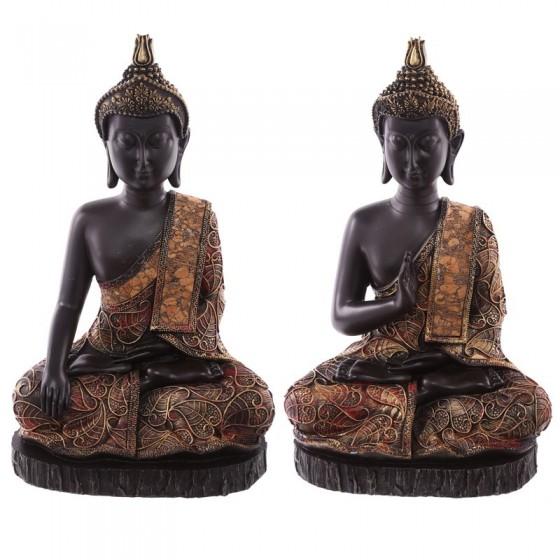Big Thai Sitting Buddha - Efeito dourado vermelho e antigo