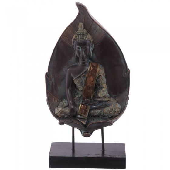 Buddha tailandês sentado no efeito Verdigris da folha