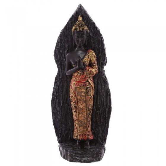 Thai Foot Buddha descansando no efeito de trás Wood Ancient Red
