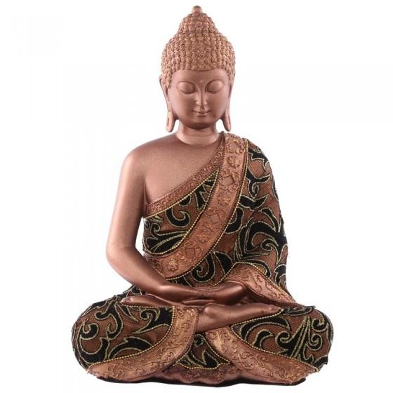 Grande Buddha Sentado Tailandês - Efeito de tecido dourado e castanho