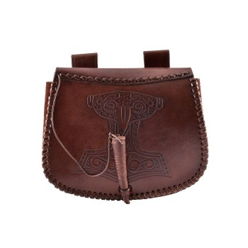 Leather pouch with Thors Hammer embossing