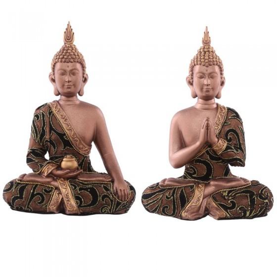 Thai Sitting Buddha Medium - Efeito de tecido dourado e castanho