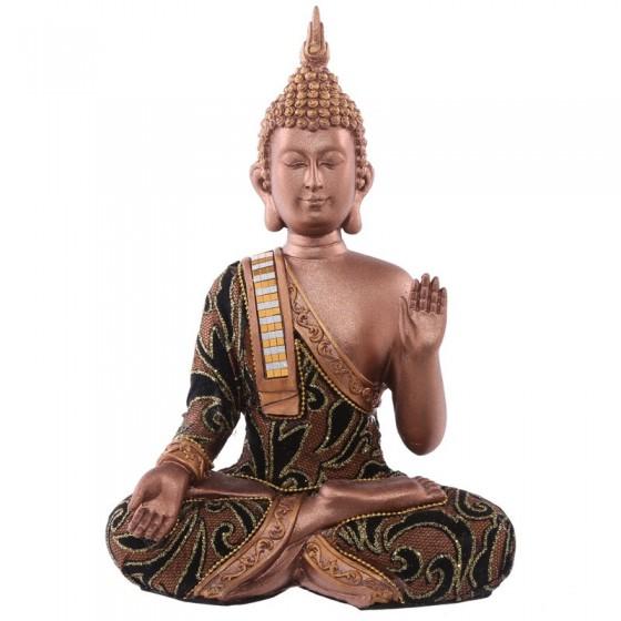 Tailandesa sentada com a mão levantada