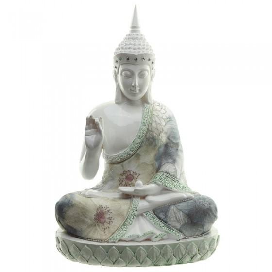Buda Tailandês Branco Figura Floral Brilhante
