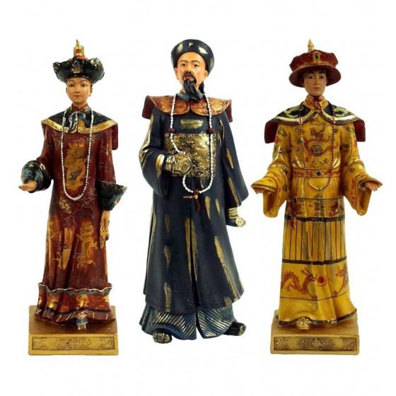 Conjunto de 3 dignitários da Dinastia Qing
