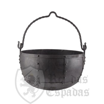 Large riveted steel cauldron, approx. 29 litres