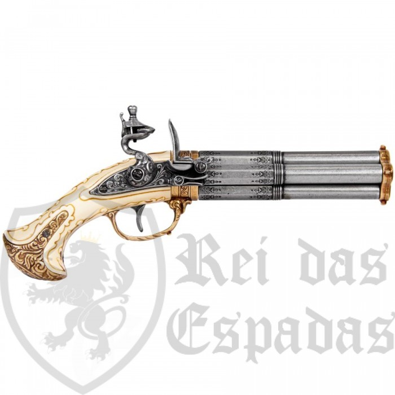 Pistola 4 canos, França s.XVIII - 5