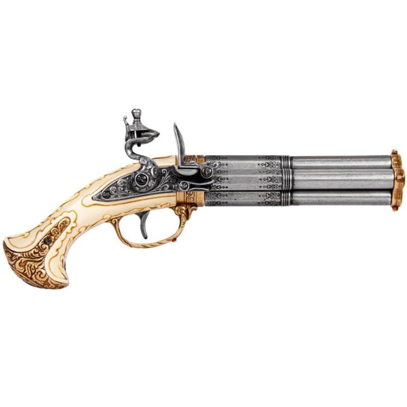 pistola de 4 barriles, siglo 18 Francia - 5