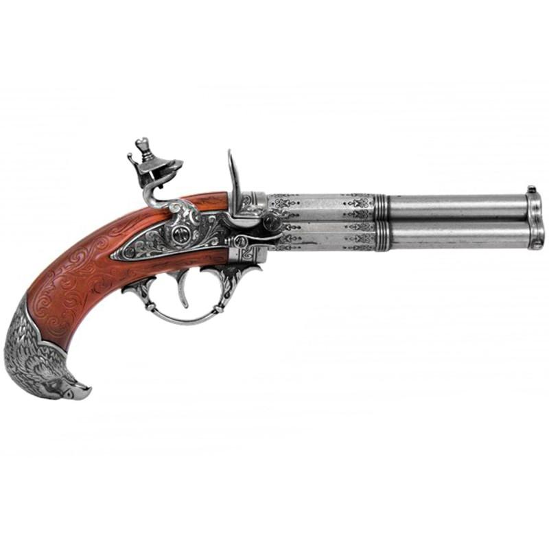 Pistol 3 pipes, France s.XVIII - 2