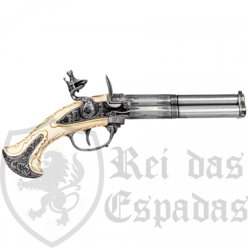 Pistola 3 canos, França s.XVIII, modelo 2 - 2