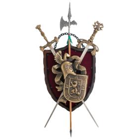 Panóplia com 2 espadas e alabarda dourado - 2