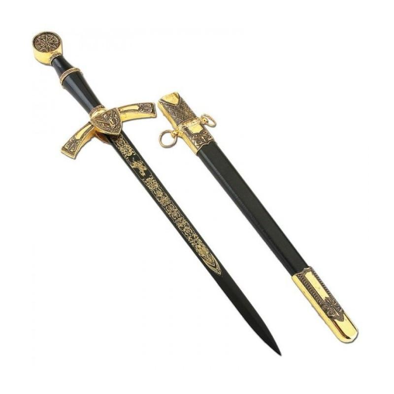 Adaga medieval preta e dourada com bainha - 3