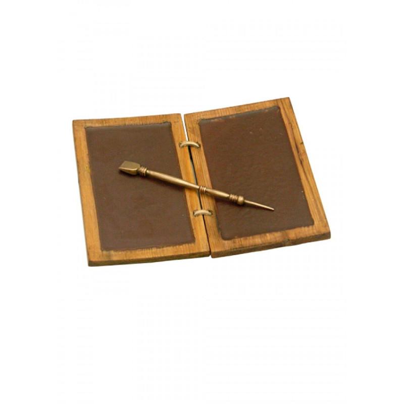 Roman wax clipboard with brass pen - 1