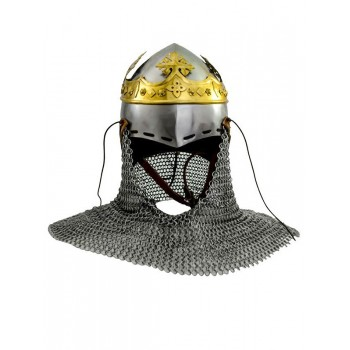 Robert the Bruce helmet, medieval bascineto with aventail, 1.6 mm steel - 1