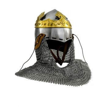 Robert the Bruce helmet, medieval bascineto with aventail, 1.6 mm steel - 2