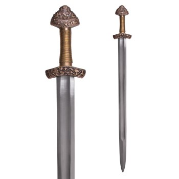 Viking Dybäck Sword with Sheath, Tempered Carbon Steel Blade - 1