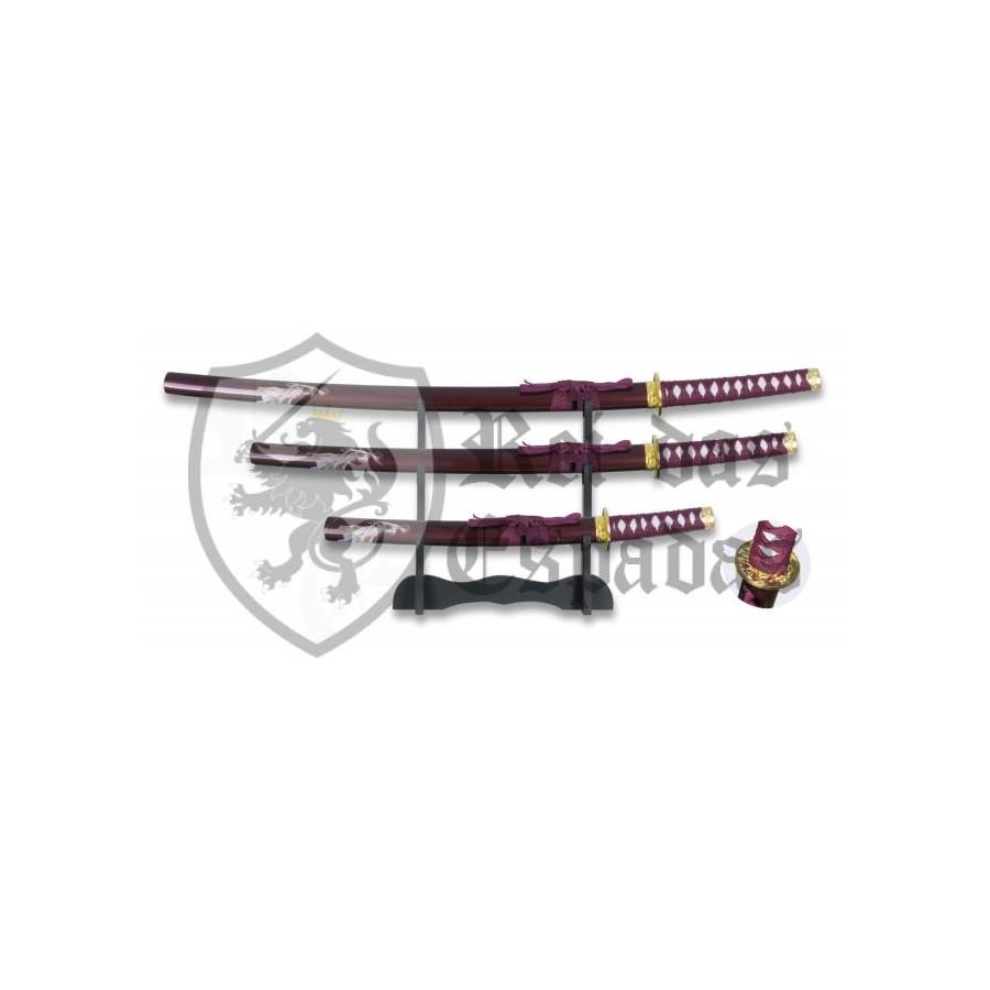 Set dragão bordeaux Composto por Katana,Wakizashi e Tanto com Suporte - 1
