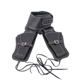 Black leather holster for 2 revolvers - 1