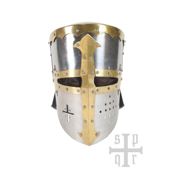 Large starting helmet with neck protector, ca. 1200 AD, 1.2 mm steel - 1