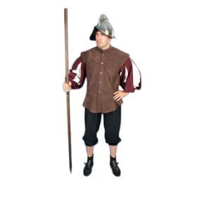 Gibão de conquistador em castanho com mangas