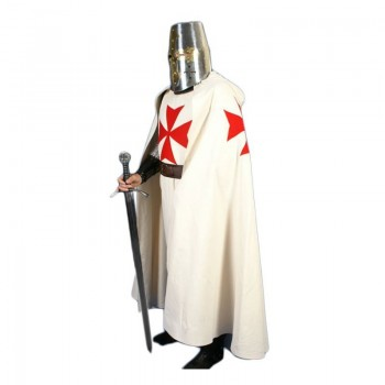 Manto de Templário Branco com cruz vermelha