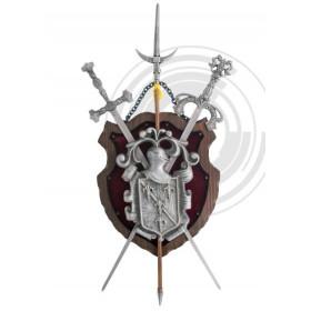 Panóplia em madeira com 2 espadas e alabarda prateado - 1