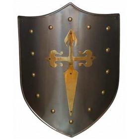 Escudo Medieval Cruz dourada Santiago - 2