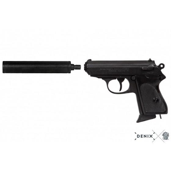 Pistola semiautomática com silenciador