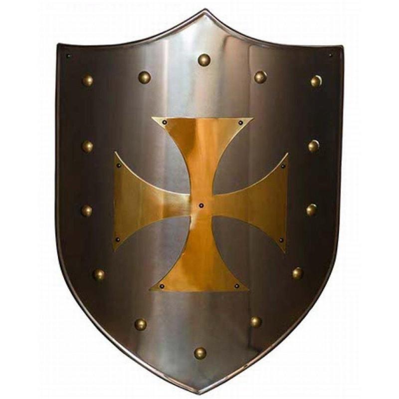 Golden cross Templar shield