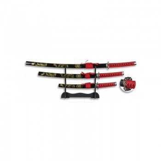 Set preto e vermelho Composto por Katana,Wakizashi e Tanto com Suporte,modelo2 - 1