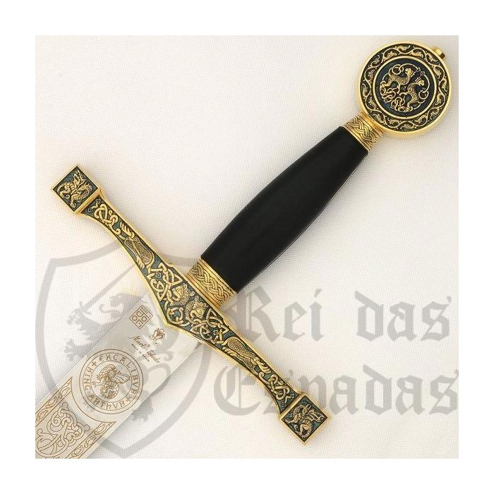 Sword Excalibur in black and gold