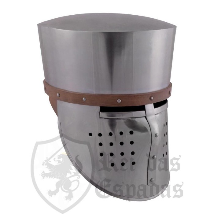 Crusader helmet, 2 mm steel, with leather coating
